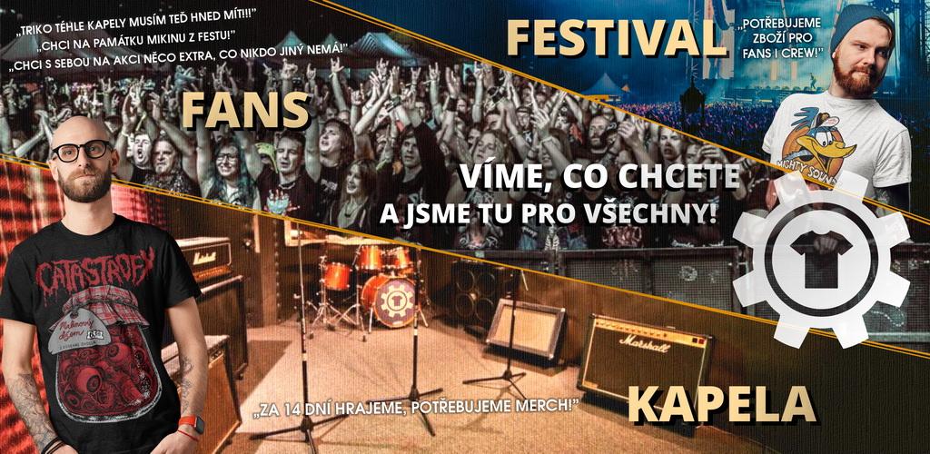 Merch pro kapely a festivaly