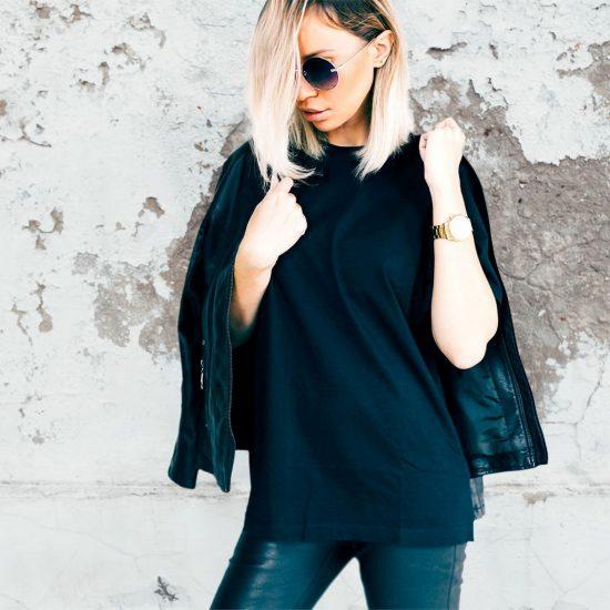 nepotištěné dámské černé triko